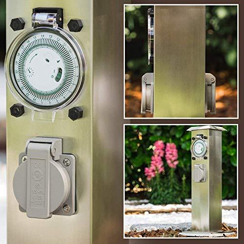 Bloc de prises électriques et minuterie d'extérieur en acier inoxydable - 2 prises