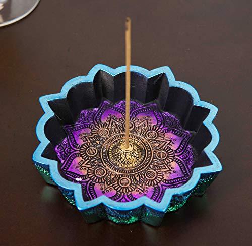 Ebros Gift New Age Colorful Iridescent Chakra Rainbow Buddhist Mandala 8 Spokes Wheel Flower Incense Stick Holder Burner Figurine Yoga Meditation Home Fragrance Accent