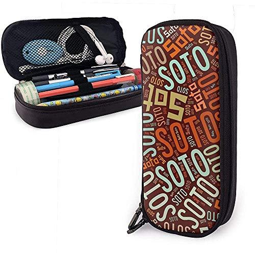 Soto - Apellido americano Estuche de lápices de cuero de gran capacidad Estuche de lápices Estuche de papelería Organizador Bolígrafo de estudiante Bolso de papelería para estudiantes