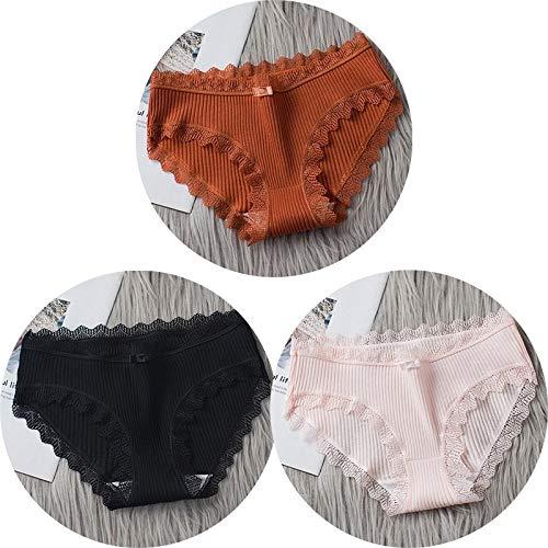 HAIBI Damen Unterhosen Panties 3 Stück Cotton Panties Damen Nahtlose, Atmungsaktive, Weiche Slips Sexy Damenwäsche Mit Mittlerer Taille, Set 4, L.