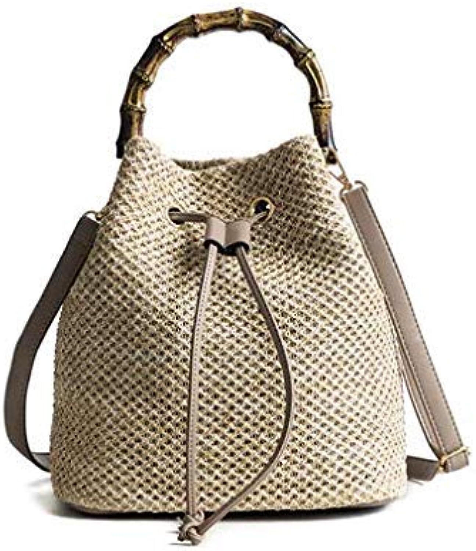 Bloomerang HOT Bohemia Style Bucket Bag Wooden Handle Women's Summer Bags Shoulder Straw Beach Bag Quality Luxury Handbags Designer Gift color A