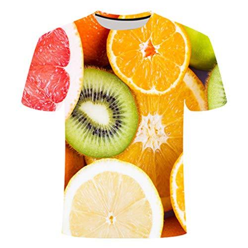 Camiseta 3D con diseño de frutas para hombre y mujer, varios códigos casuales para primavera y verano, color verde claro kiwi limón Tx531. XL