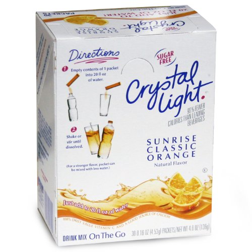 Crystal Light On The Go Sticks - 20oz Water Bottle Size - 30ct Boxes (Pack of 4) - Sunrise Classic Orange