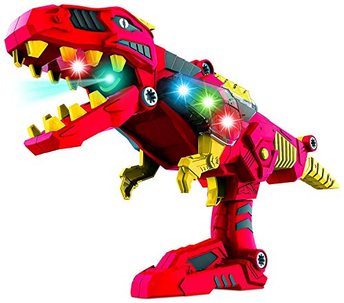 Build Me Take A Part 3 in 1 Dinoblaster Transforming Tyrannosaurus Rex Dinosaur and Toy Gun with Power Drill Toy for Construction with Lights and Sounds