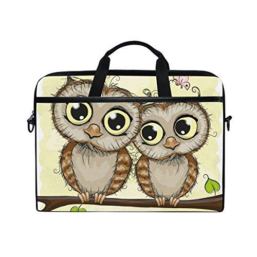 JSTEL Two Cute Cartoon Owls Laptop Shoulder Messenger Bag Case Sleeve for 14 inch to 15.6 inch with adjustable Notebook Shoulder Strap
