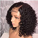LEOMI Hair Brazilian Virgin Human Hair Lace Front Wigs Sweet Curly Remy Human Hair Lace Wigs with Baby Hair for African Americans Natural Color 130% Density(12INCH, LACE FRONT WIG)