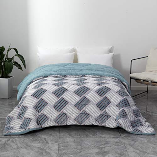 QZY Bettdecke mit Flanell Fleece 200x200cm für Winter, Mikrofaser Steppdecke mit Füllgewicht Ca.2500g, warm mit doppelt genäht zweiseitige Bettdecke/Graue Geometrie