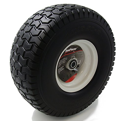 "TruePower 15X6.50-6"" PU Flat Free Tire on Wheel, 3"" Centered Hub, Both 5/8"" & 3/4"" Bearings and Spacers"