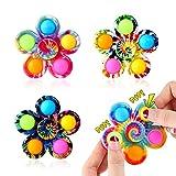 Effacera Pop Fidget Spinner Toys 4 Pack, Tie-Dye Popper Pop Bubble Spinner Set, Party Favors Sensory Fidget Bulk Pack Toys, Pop Hand Spinners, for Kids Teen Girl or Boy