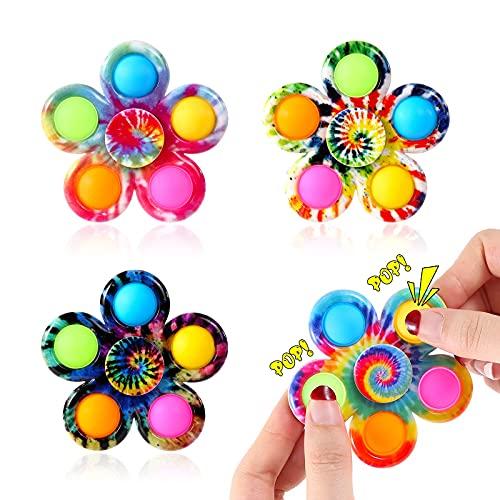 Effacera Pop Fidget SpinnerToys 4 Pack, Tie-Dye Popper Pop Bubble Spinner Set, Party Favor Sensory Fidget Bulk Pack Toys, Pop Hand Spinners, Stress Relief for Kids Gift