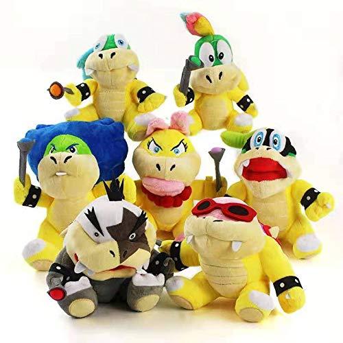 Plush Toys 7pcs/Set Super Bros Jr 3D Land Bone Kubah Koopa Dark Dragon Bowser Kamek Waluigi Wario Lemmy Morton Roy Bully Plushie Toys