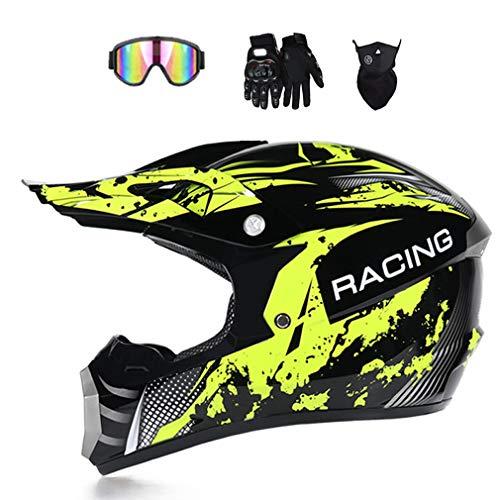 Muccy Adulto Motocross Casco Gafas Amarillo Negro, Bicicleta De Montaña Cross Off-Road...