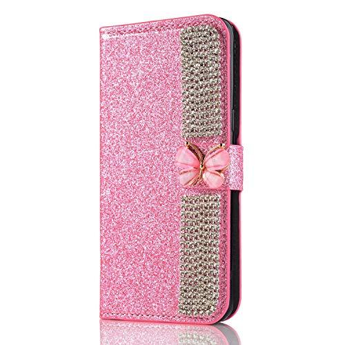 Miagon Hülle Glitzer für iPhone 12 Pro Max,Diamant Strass Schmetterling Kette PU Leder Handyhülle Ständer Funktion Schutzhülle Brieftasche Cover,Rosa