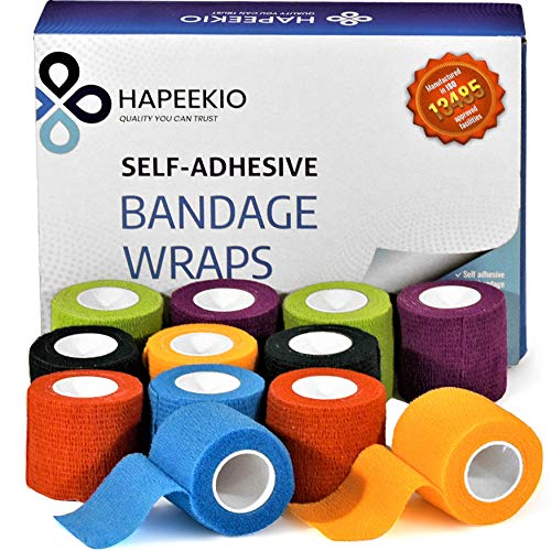 Self Adhesive Cohesive Bandage - Medical Tape - Vet Wrap - 12 Pack / 2 Inch x 5 Feet - Elastic, Breathable, Non-Woven - 6 Beautiful Colors - Athletic Tape for Sports, Injuries, Treatments and Recovery