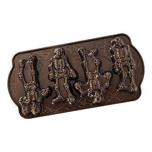 Nordic Ware 93548 Spooky Skelett Kuchenform, Aluminium, Bronze