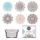 KØZY LIVING Untersetzer Set aus Keramik für Gläser, Tassen mit Halter, Boho Vintage Look, 6 Stück mit Korkunterseite (Mandala)