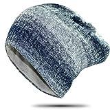 冬の縦縞ニットビーニーハットウォームメンズダブルレイヤー包頭ビーニーハット55-60cmチベットブルー