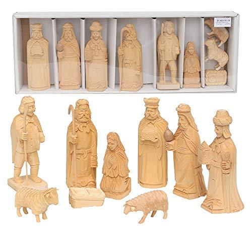 Dekohelden24 Handgeschnitzte Holz Krippenfiguren als 9er Set, Maße L/B/H: 5,5 x 6,5 x 15,5 cm.
