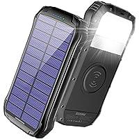 Soxono F16W 16000mAh Portable Solar Power Bank with 2 USB Charging Ports (Black)