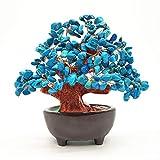 Colorsheng 7 Inch Quartz Crystal Money Tree Bonsai Feng Shui Gem Decoration for Wealth and Luck (Blue)
