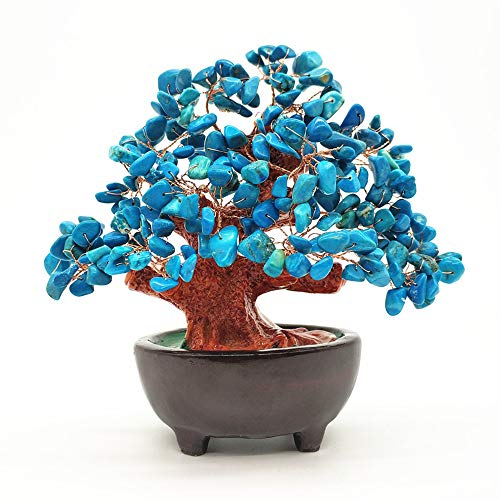 Colorsheng 7 Inch Quartz Crystal Money Tree Bonsai Fengshui Gem Decoration for Wealth and Luck (Blue)