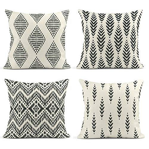 ArtSocket Set of 4 Throw Pillow Covers Ikat Tribal and Boho Bohemian Ethnic Herringbone for Ideas Chevron Decor Linen Pillow Cases Home Decorative Square 18x18 Inches Pillowcases