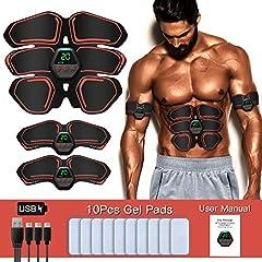 SUNGYIN EMS Muscle Stimulator Abdominal Trainer ABS Training Device Professional USB Elektrostimulatie Elektrische Abdominale Spiertrainer Fitness Riem voor vrouwen mannen (Oranje-2)*