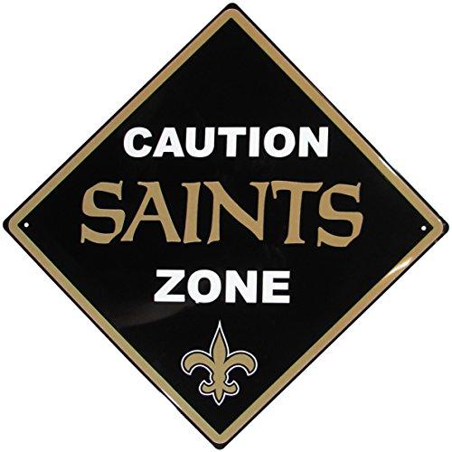 NFL Siskiyou Sports Fan Shop New Orleans Saints Caution Wall Sign Plaque 14 inch Team Color