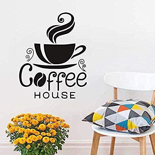 Etiqueta de la pared Una taza de café humeante Diseño creativo Decoración del hogar Etiqueta de la pared de PVC extraíble Pizarra Café Casa 34X44Cm
