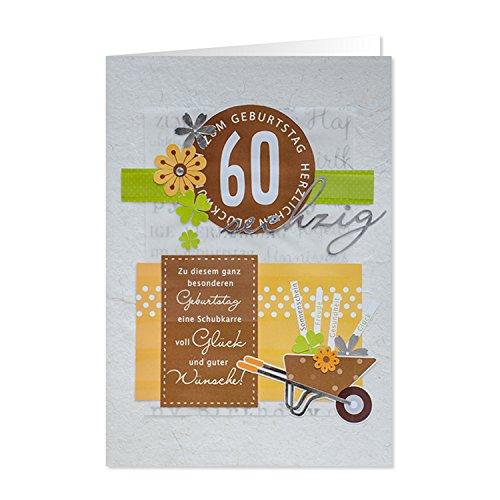 """GRUSS & CO 90222 XL handmade Grußkarte, Geburtstag, \""""60 - Zum Geburtstag herzlichen Glückwunsch\"""", 42 cm x 30 cm, mit Kuvert"""