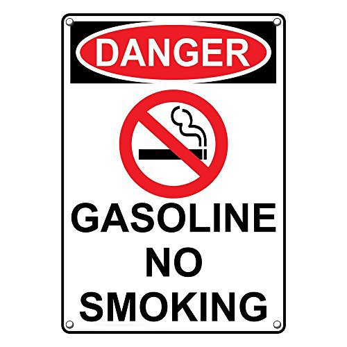 Weatherproof Plastic Vertical OSHA Danger Gasoline No Smoking Sign with English Text and Symbol