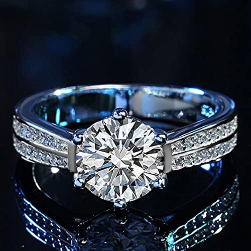 YANGYUE Anillo de moissanita de Boda clásico Plata de Ley 925 Corte excelente Prueba de Diamante de Color D de 2 Quilates Anillos de musanita anteriores para Dama