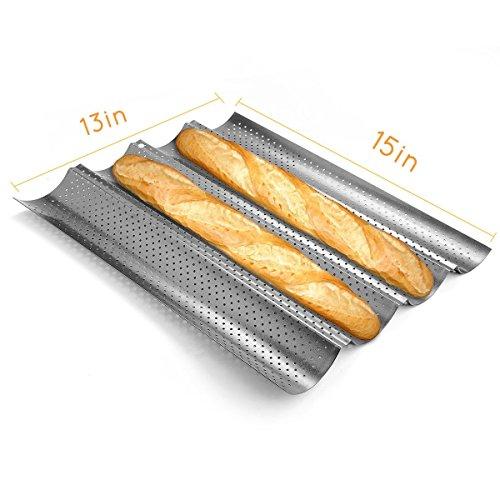 Romote Backform Bakingform für Französisch Brot Baguettes Metall Perforierte Welle Loaf Bake Mold 4 Gutters