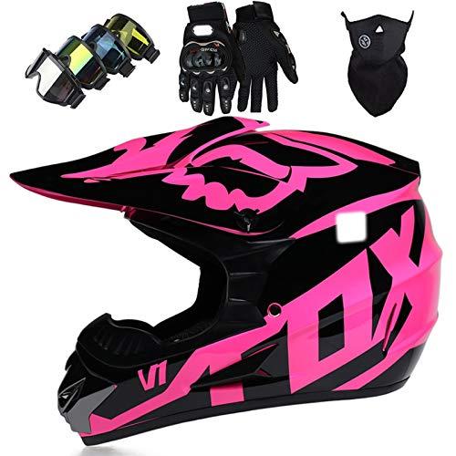 Casco Motocross para Niños con Gafas Guantes Máscara, Set Casco MTB Integral para Adultos con FOX Design, para Cross Downhill Off Road Dirt Bike ATV Moto, Certificación DOT, Rosa Negro Brillante