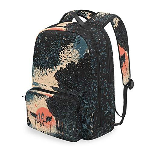 MONTOJ Sac de voyage Motif forêt de mangrove flamand coucher de soleil avec sac à dos