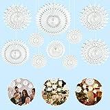 TANCUDER 10 PCS Decoración Abanicos de Papel de Copos de Nieve Abanicos de Papel Colgante Papel de Abanico Flor con 2 Banner de Copo de Nieve para Decorar Fiesta de Navidad Boda Cumpleaños (Blanco)