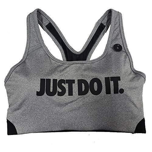 Nike Pro Women's Classic Swoosh Medium Support Sports Bra AJ4281 (Grey/Black, xs)