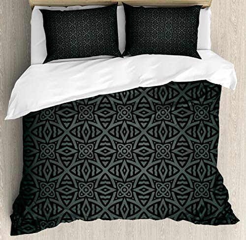 Ambesonne Dark Grey Duvet Cover Set, Medieval Folkloric Ornament Celtic Pattern Vintage Style Abstract Floral Circles, Decorative 3 Piece Bedding Set with 2 Pillow Shams, King Size, White Blue