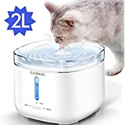 CLEEBOURG Upgraded Pet Cat Water Fountain, 68oz/2L Automatic Pet Water Dispenser Dog Water Fountain with Separable Water Tank, Filter and LED Indicator Light for Cats, Dogs, Multiple Pets