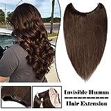 "Invisible Human Hair Extension 16"" Medium Brown Transparent Wire Hidden Fish Line transparent"