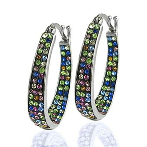 YXDS 1 par de Pendientes Coloridos Pendientes con Incrustaciones de Diamantes con Hebilla de Oreja versátiles Pendientes Individuales Adornos Pendiente de Moda