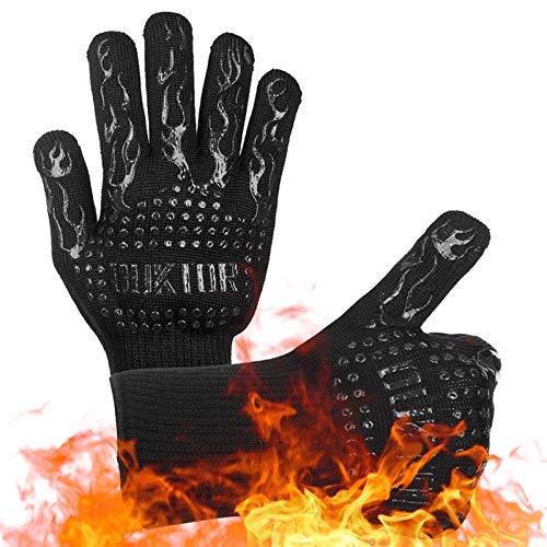 GTEFWZ Hitzebeständige Handschuhe Grill Handschuhe Hitzebeständig Grill Kochen Küchenhandschuhe Handschutz Handschuhe Grillzubehör