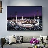 QWESFX Mekka Holy Land Nightscape Poster an der Wand Realistische islamische muslimische Moschee Dekorative Bilder für Wohnzimmer Dekor (Druck ohne Rahmen) E 60x120CM