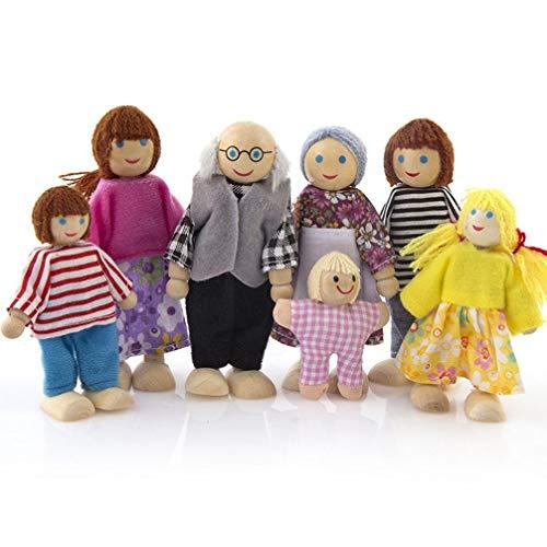 Vektenxi 7 Stücke Holz Familie Menschen Puppe Set Spielzeug Miniatur Puppenhaus Figuren-Puppenhaus Kit Kind Kind Kreative Handarbeit Spielzeug Langlebig und Praktisch