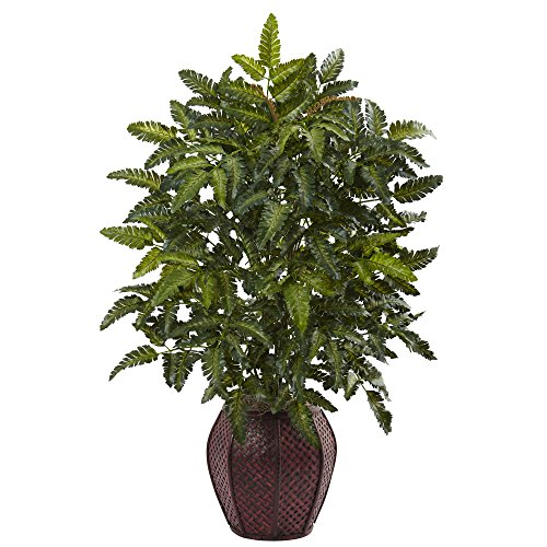 "Nearly Natural 6887 33"" Bracken Fern with Decorative Planter"