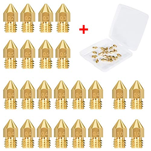 IKWOLETI 24PCS 3D Printer Nozzles Extruder Nozzles for MK8 0.2mm, 0.3mm, 0.4mm, 0.5mm, 0.6mm, 0.8mm, 1.0mm with Free Storage Box for 3D Printer Makerbot Creality CR-10 Ender 3 5