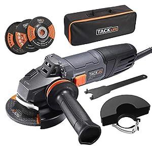 Amoladora Angular 900W, TACKLIFE Herramienta de 125 mm y 12000 RPM con Mango Anti-vibraciones, 3 Discos para Lijar/Pulir/Cortar, 2 Cubiertas Protectoras de Ruedas, 1 Bolsa Portátil, P9AG125