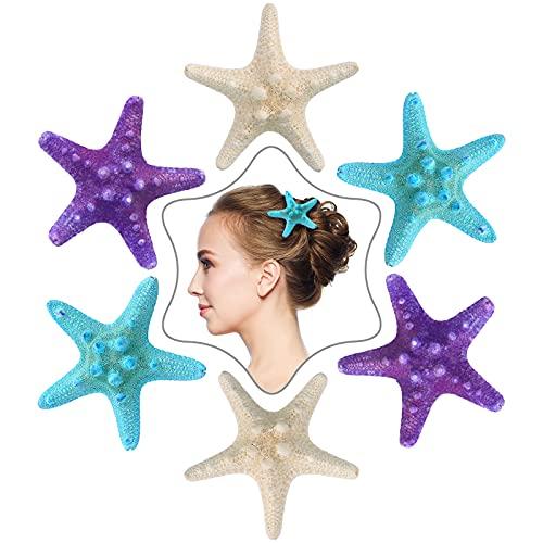 6 Pieces Starfish Hair Clip Beach Sea Star Hair Pins Mermaid Hair Clips Accessories for Women Girls Wedding Supplies