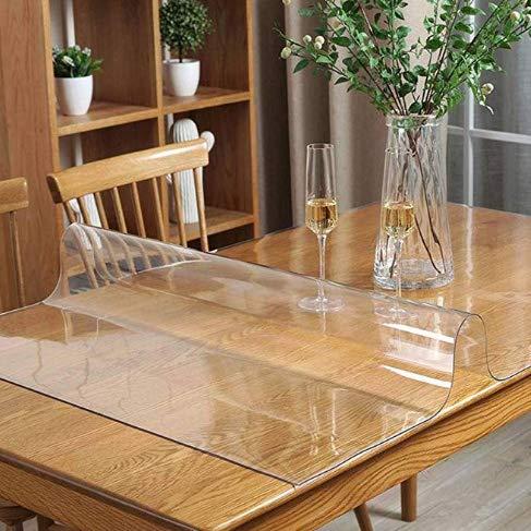 WLF-didian PVC transparant tafelkleed, tafelkleed van vinyl als tafeldecoratie, voor salontafel, bureau, 6 maten, 3 diktes