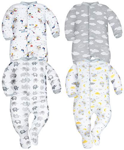 Sibinulo Nino Nina Pijama Bebé Pelele de Algodón Pack de 4 Nubes Elefantes Grises Lunas y Ratones 74(6-9 Meses)